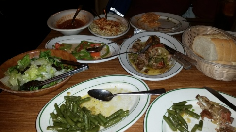 Then came the entree - ribs, spaghetti, and green beans